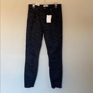 Zara high waist black zebra skinny jeans Sz 10 NWT